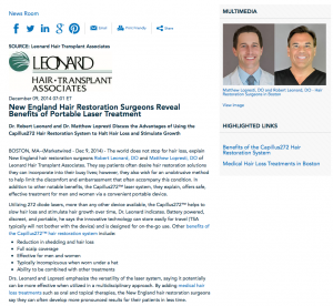 Dr. Robert Leonard, Dr. Matthew Lopresti, benefits of Capillus272 hair restoration system, medical hair loss treatment, Leonard Hair Transplant Associates